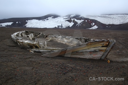 Vehicle deception island whalers bay boat sand.