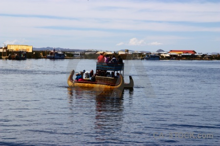 Vehicle lake titicaca sky uros peru.