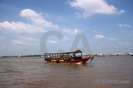Vehicle river sky mekong song tien.