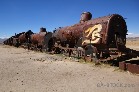Vehicle sky train cemetery bolivia.