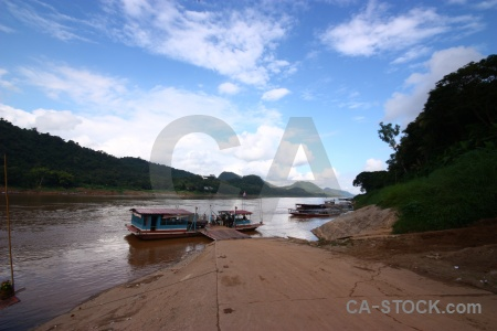 Vehicle southeast asia laos mountain mekong river.