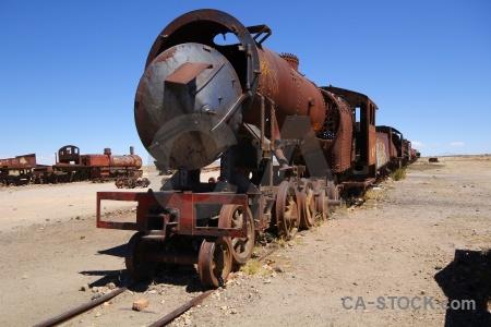 Vehicle train uyuni rust sky.