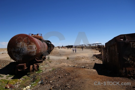 Vehicle wreck train cemetery uyuni south america.