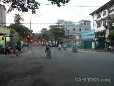 Vietnam road asia tree motorbike.