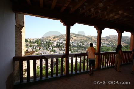 View la alhambra de granada terrace cityscape fence.