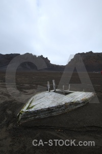 Volcanic antarctica south pole boat wood.