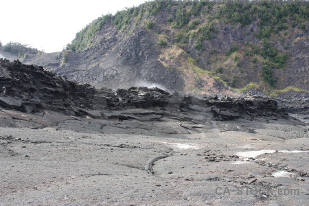 Volcanic crater gray lava.