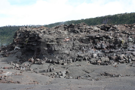 Volcanic crater white lava.