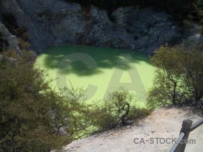 Volcanic green lake water.
