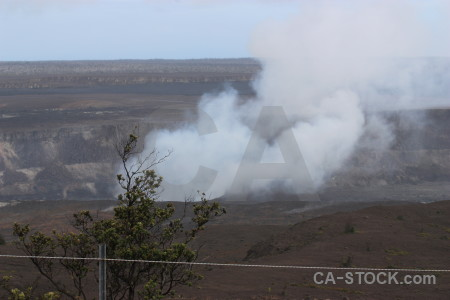 Volcanic landscape smoke crater.
