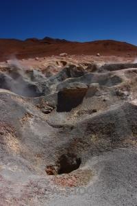 Volcanic mountain bolivia steam sky.