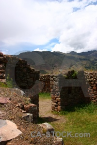 Wall south america mountain ruin sacred valley.