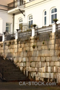 Wall stair brown white step.