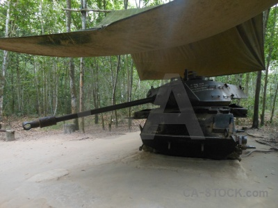 War cu chi tunnels tree vehicle asia.