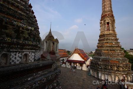 Wat arun sky buddhism asia thailand.