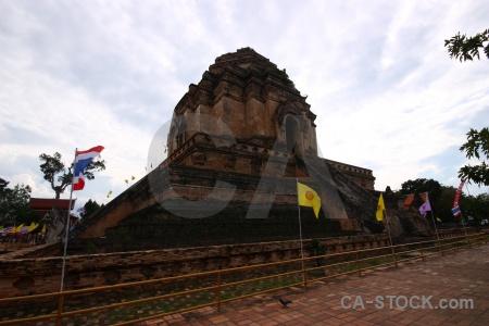 Watchediluang varaviharn brick southeast asia wat chedi luang temple.