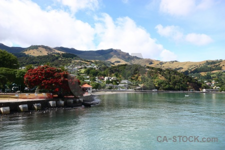 Water akaroa sea building south island.