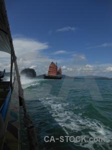 Water boat phang nga bay tropical asia.