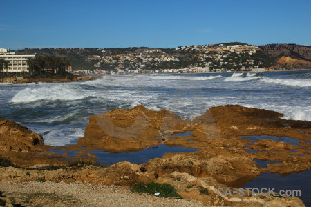 Water europe wave javea sea.