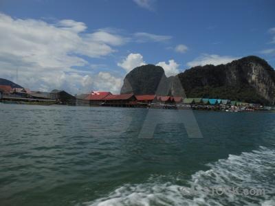 Water floating limestone koh panyee island.