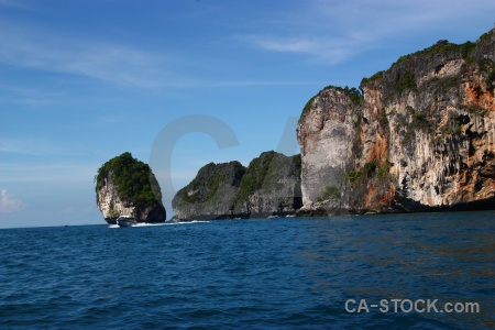 Water phi island thailand rock tropical.