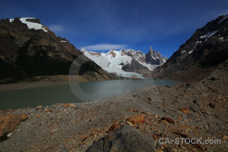 Water rock cerro torre ice sky.