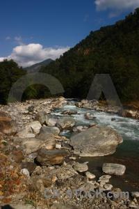 Water rock trek mountain nepal.