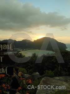 Water sea bay mountain sunset.
