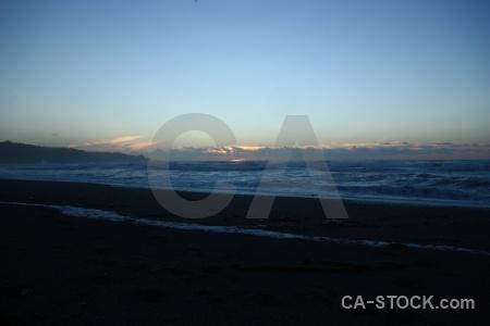 Water sunset sky punakaiki wave.