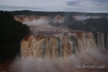 Waterfall brazil river iguassu falls sky.