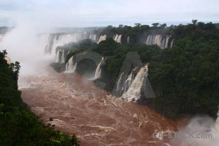 Waterfall iguassu falls cloud brazil iguazu river.