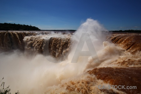 Waterfall iguazu river water south america argentina.