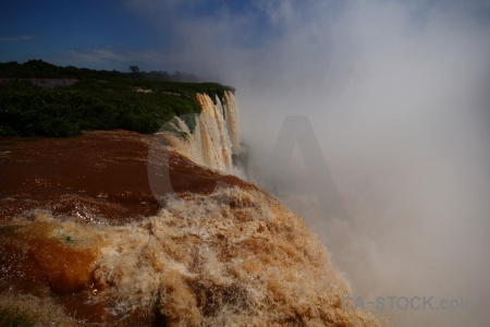 Waterfall river iguacu falls spray iguazu.