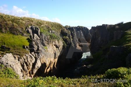 West coast punakaiki limestone pancake rocks sky.