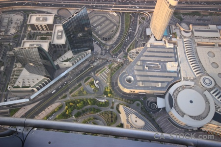 Western asia cityscape aerial burj khalifa road.
