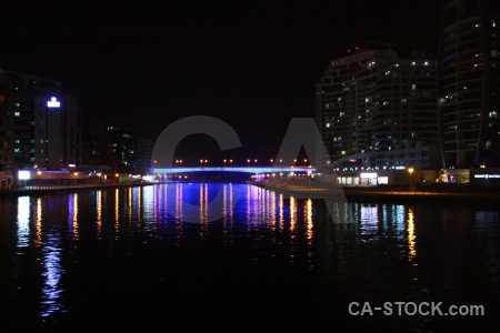 Western asia dubai night light building.