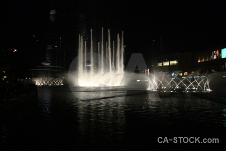 Western asia fountain water pool night.
