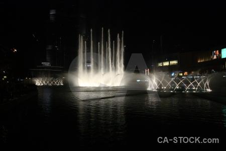 Western asia fountain water pool night.