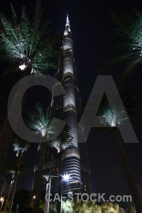 Western asia uae tower night burj khalifa.