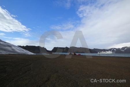 Whalers bay vehicle boat volcano ship.