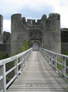 White building gray castle.