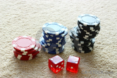 White chip dice red poker.
