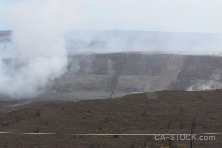 White crater landscape volcanic smoke.