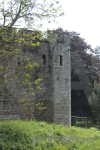 White green castle building.