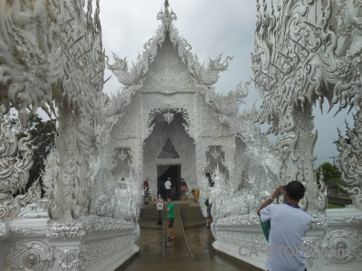 White temple sky person asia chiang rai.