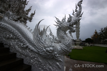 White temple snake buddhist cloud southeast asia.