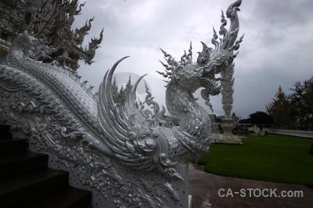 White temple snake buddhist cloud southeast asia.