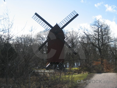 White windmill building.