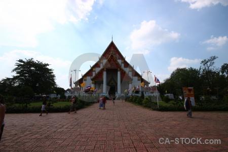 Wihan phramongkhon bophit cloud flag person southeast asia.
