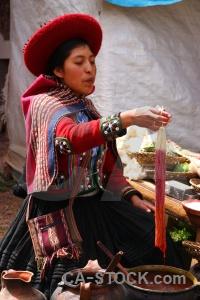 Woman landscape altitude peru andes.